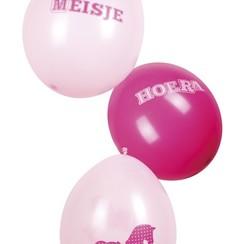 Ballonnen Hoera een meisje 6 stuks