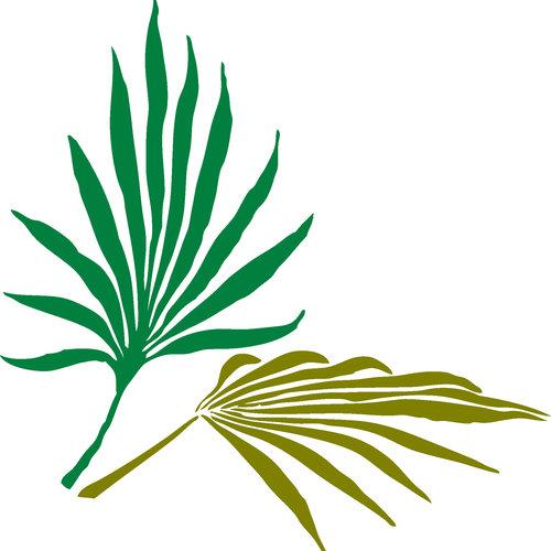 HSA Muursticker tropisch blad 33 x 33 cm