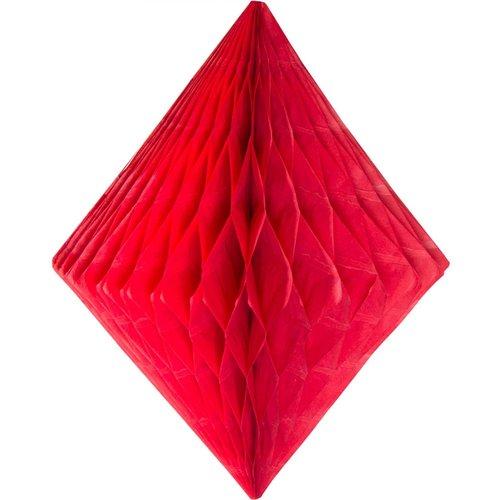 Folat Decoratie diamant rood 30 cm