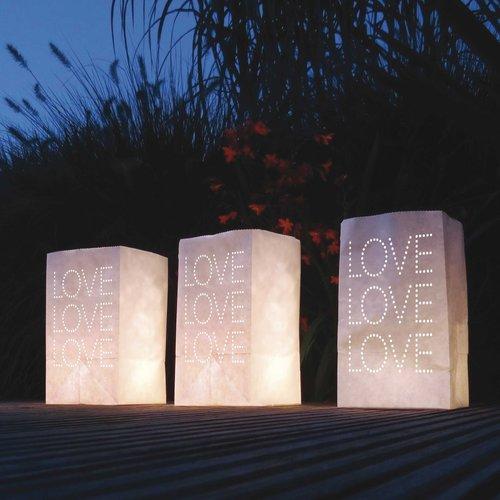 Lichtzakjes wit Love 26,5 x 15,5 x 9 cm 5 stuks