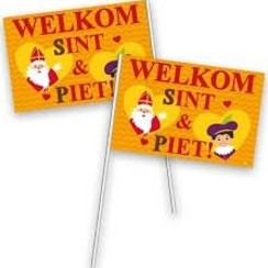 Zwaaivlag welkom Sint en Piet 30 x 20 cm