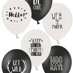 Ballonnen party zwart/wit 30 cm 6 stuks
