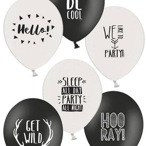 Haza Original Ballonnen party zwart/wit 30 cm 6 stuks