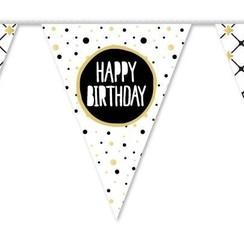 Vlaggenlijn Happy Birthday festive gold 10 m