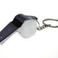 Scheidsrechterfluit metaal aan sleutelhanger