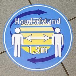 Vloersticker Houd Afstand eigen logo 30cm