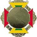 Medaille Bartholo Goud ro-ge-gr-wi 8x9cm