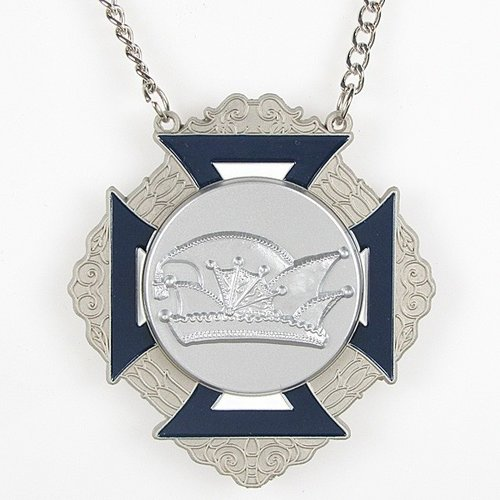 Medaille Bartholo Zilver-misty blauw-wit 8x9cm