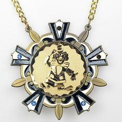 Medaille Baernd Goud-antiek blauw-wit ø9cm