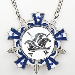 Medaille Baernd Zilver-antiek blauw-wit ø9cm