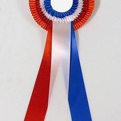 Rozet Kampioen Oranje-rood-wit-blauw 40cm