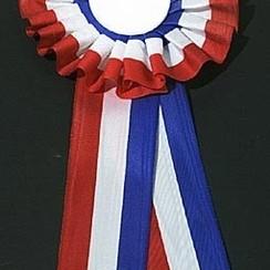 Rozet extra rood-wit-blauw 32cm