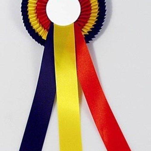 Rozet extra rood-geel-zwart 31cm