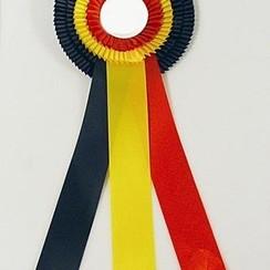 Rozet kampioen rood-geel-zwart 40cm