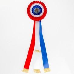 Rozet Giant rood-wit-blauw 18,5x63cm