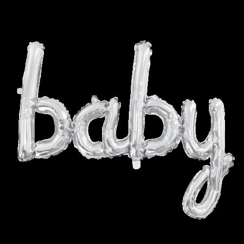 Globos Nordic Folie ballon baby zilver 41 cm
