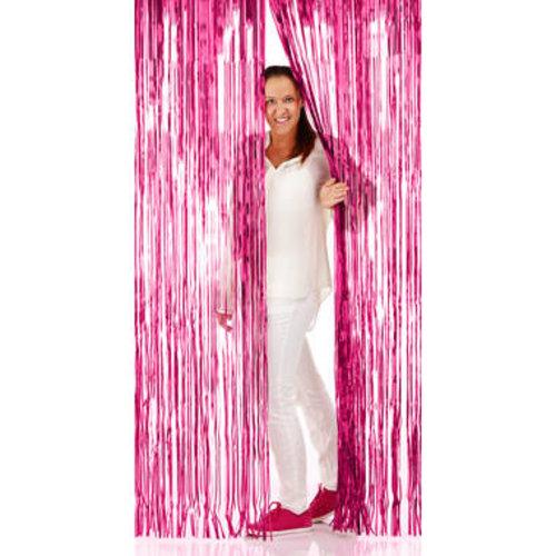 Folat Folie deurgordijn roze metallic 2 x 1 m brandveilig