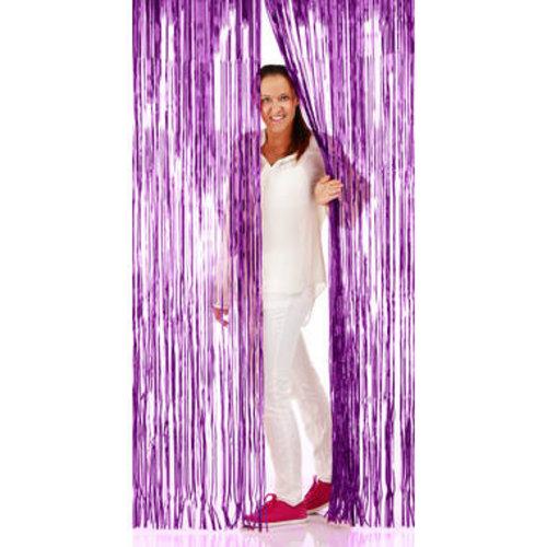 Folat Folie deurgordijn paars metallic 2 x 1 m brandveilig