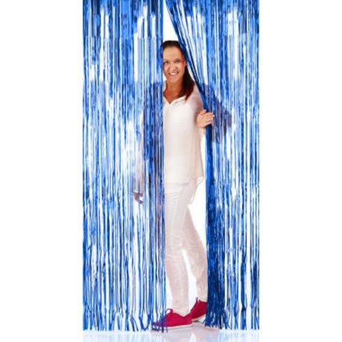 Folat Folie deurgordijn blauw metallic 2 x 1 m brandveilig