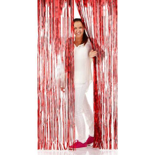 Folat Folie deurgordijn rood metallic 2 x 1 m brandveilig