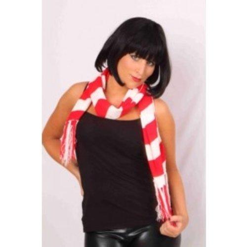 Sjaal rood-wit 160 x 19 cm
