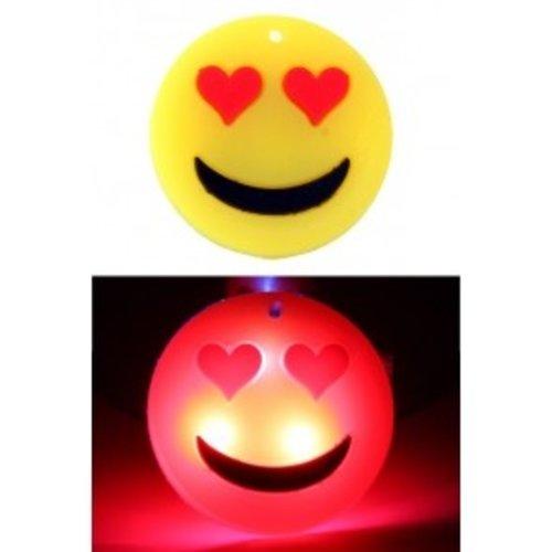 PartyXplosion Pin smiley hartjes met licht ø2,5cm