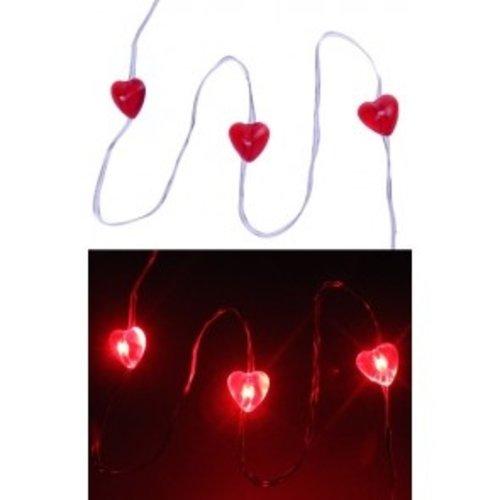 Ledverlichting snoer rode hartjes 20 lampjes
