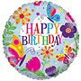 Folie ballon happy birthday bloemen 46 cm