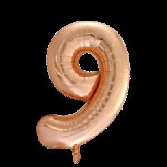 Folie ballon cijfer 9 goud-roze 86 cm