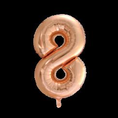 Folie ballon cijfer 8 goud-roze 86 cm