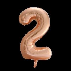 Folie ballon cijfer 2 goud-roze 86 cm