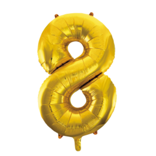 Globos Nordic Folie ballon cijfer 8 goud 100 cm