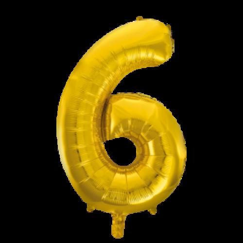 Globos Nordic Folie ballon cijfer 6 goud 100 cm