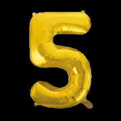 Folie ballon cijfer 5 goud 100 cm