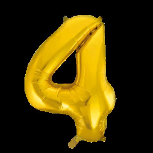 Globos Nordic Folie ballon cijfer 4 goud 100 cm