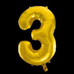 Folie ballon cijfer 3 goud 100 cm