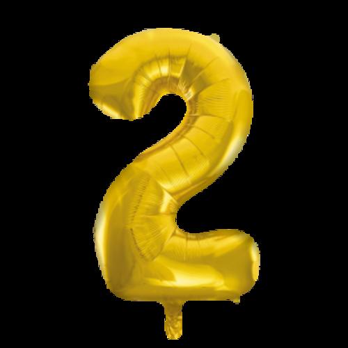 Globos Nordic Folie ballon cijfer 2 goud 100 cm
