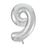 Folie ballon cijfer 9 zilver 100 cm