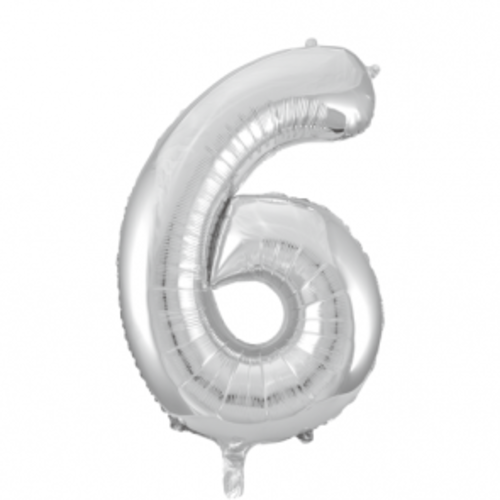 Globos Nordic Folie ballon cijfer 6 zilver 100 cm