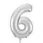 Folie ballon cijfer 6 zilver 100 cm
