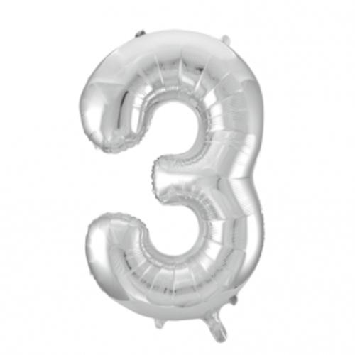 Globos Nordic Folie ballon cijfer 3 zilver 100 cm