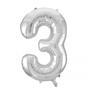 Folie ballon cijfer 3 zilver 100 cm