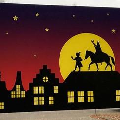 Raamsticker luxe Sint en Piet 30 x 41 cm