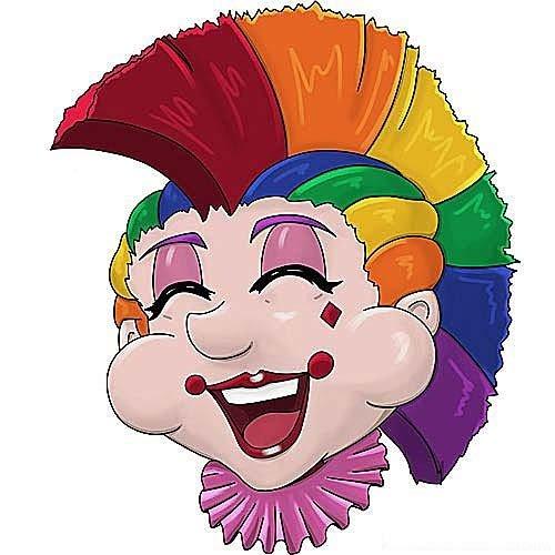 HSA Raamsticker statisch clowns Mohawk 40 x 33,5 cm