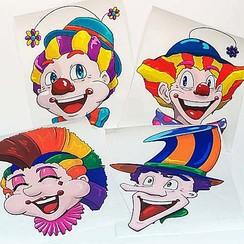 Raamsticker pakket statisch clowns 40x33,5 cm 8 stuks