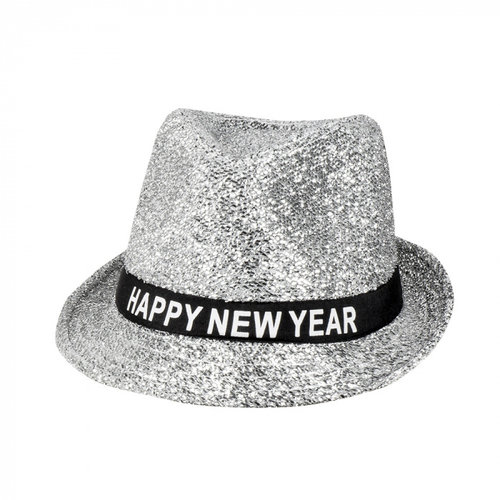 Boland BV Hoed glitter zilver Happy New Year