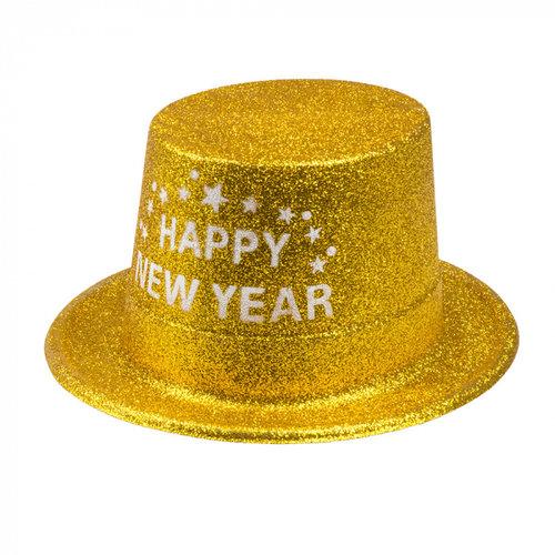 Boland BV Hoed glitter goud Happy New Year