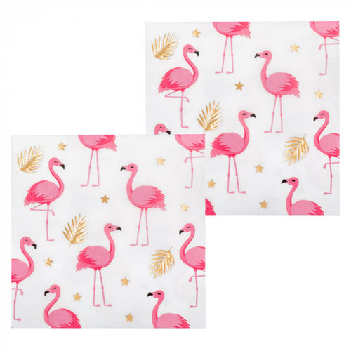 Boland BV Servetten flamingo 33 x 33 cm 12 stuks