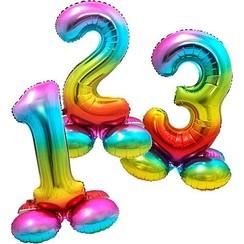 Folie ballon cijfer regenboog met standaard 81 cm