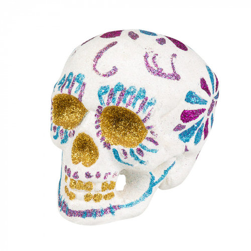 Boland BV Doodshoofd Day of the Dead glitter wit 16 x 14 cm
